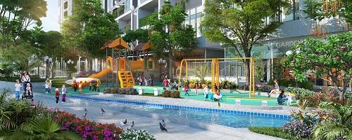 Khuôn viên vui chơi của Imperia Sky Garden, được bố trí xây dựng trên diện tích rộng rãi có cây xanh và mặt nước. Những thiết bị vui chơi màu sắc, thiết kế nhiều vị trí, hình dáng để trẻ thoải mái vận động.
