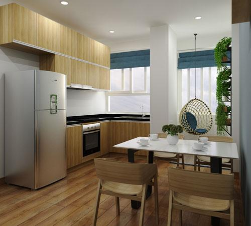 ... sau cải tạo nhìn gọn gàng, sáng đẹp hơn nhiều với bộ bàn ghế gỗ đơn giản, cùng tông với màu chủ đạo của nhà. Góc nhỏ với những chậu cây, xích đu nho nhỏ khiến ngôi nhà thêm sinh động.