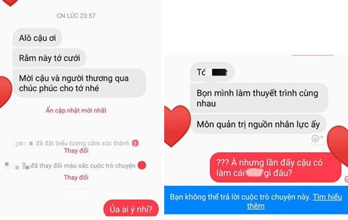 Một Facebooker chia sẻ ảnh được mời cưới. Khi hỏi lại lập tức bị khóa luôn tin nhắn.