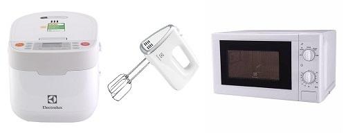 Thiết bị nhà bếp Electrolux  chỉ từ 499.000 đồng:  https://shop.vnexpress.net/retail/phan-le/category_0?pin=136&orderby=price_asc&utm_source=VNE&utm_medium=PR&utm_campaign=0111_t5vv các sản phẩm được thiết kế màu trắng đơn giản, trang nhã, kiểu dáng nhỏ gọn, chất liệu cao cấp, mang lại nét tinh tế cho không gian sử dụng. Các sản phẩm bao gồm: Nồi cơm điện, máy đánh trứng, lò vi sóng đang giảm sâu