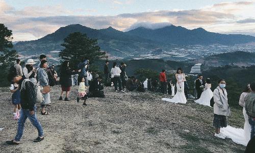 Ekip chụp ảnh ở đồi Cỏ Hồng còn đông gấp 3 lần số lượng cô dâu chú rể. Ảnh:Tấn Thịnh
