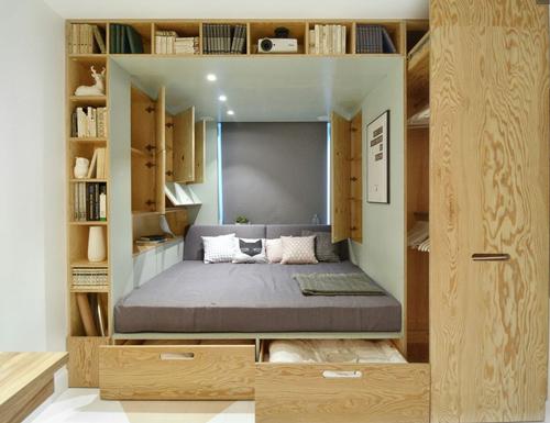 Các ngăn kéo, tủ, kệ được thiết kế có bánh trượt tiện dụng.