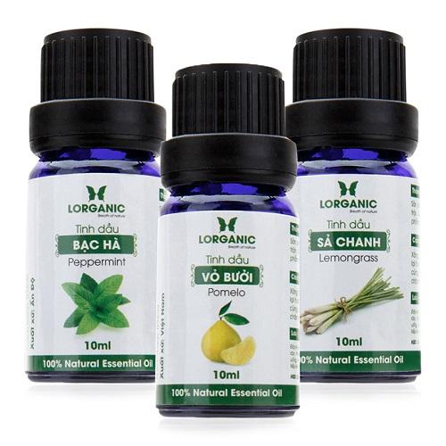 Combo 3 loại tinh dầu sả chanh, vỏ bưởi và bạc hà nguyên chất Lorganic 10ml/chai  99.000 đồng