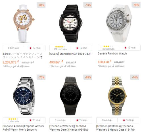 Tại Amazon Nhật Bản, các thương hiệu đồng hồ được ưa chuộng phải kể đến: Zippo, Casio, Seiko& với mức giảm giá khá sâu.