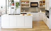 Không gian nấu nướng mang phong cách châu Âu với tủ bếp theo khối