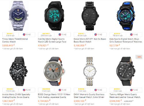 Một số đồng hồ được người dùng Việt đặt mua nhiều nhất tại Amazon trong tháng 11 (theo thống kê của sàn thương mại điện tử xuyên biên giới Fado.vn).