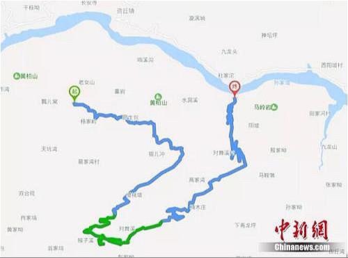 Quãng đường di chuyển của 4 anh em. Ảnh: Chinanews.