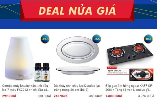 Khu vực deal nửa giá với nhiều sản phẩm thiết yếu chỉ bằng nửa giá so với giá hằng ngày.