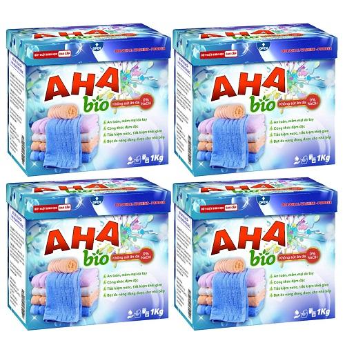 Bộ 4 bột giặt cao cấp AHA bio một kg giảm sâu còn 249.000 đồng (giá gốc 556.000 đồng). Sản phẩm sử dụng giặt tay, giặt máy cửa trên hoặc cửa trước với công thức an toàn cho người dùng.