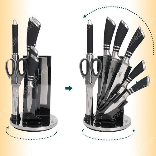 Bộ dao 8 món thép không gỉ Good Life MK88 giảm 50% còn 1,09 triệu đồng cùng quà tặng chảo chống dính 20cm trị giá 549.000 đồng. Bộ sản phẩm gồm 5 dao, một kéo, một mài dao, một ống cắm dao, hỗ trợ đắc lựcnhu cầu của người sử dụng.