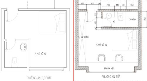 Kiến trúc sư đã sửa lại phòng ngủ tầng hai cho gia chủ. Ảnh: Trịnh Hải Long.