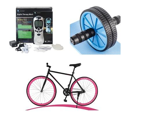 Dụng cụ thể thao, massage thư giãn gồm xe đạp leo núi, máy chạy bộ, máy tập thể dục, thiết bị massage...giảm đến 50%, giá từ 89.000 đồng.