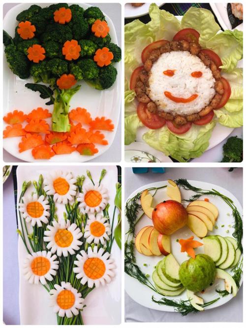 Mặc dù là những đầu bếp không chuyên nhưng với chủ đề Sạch tươi ngon, cùng con khôn lớn, các bố mẹ chế biến những loại rau, củ quả đơn giản thành những món ăn hấp dẫn dành cho con.  Cụ thể, cây thông noel làm bằng bông cải xanh, bông hoa hướng dương mặt cười thiết kế từ xà lách, cà chua.