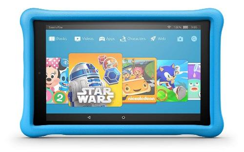 Máy tính bảng Amazon Fire HD 10 Kids Edition: Sản phẩm có vỏ bảo vệ bên ngoài chống va đập, tăng cường khả năng chịu lực, và đi kèm chế độ bảo hành đổi mới 2 năm không điều kiện. Trong 2 năm này, nếu trẻ nghịch hư máy, trầy màn hình, vỡ màn hình... sẽ được Amazon đổi máy mới.Về cấu hình, máy có màn hình 10 inch, bộ nhớ trong 32GB có khả năng nâng cấp dung lượng bộ nhớ lên 128GB qua thẻ nhớ, chip bốn nhân (quad-core) 1.5GHz, kết nối Wi-Fi, camera 5MP...Sản phẩm luôn nằm trong top bán chạy trên Amazon, đang được giảm 25%, về Việt Nam khoảng 4,4 triệu đồng.