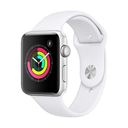 Đồng hồ thông minh Apple Watch Series 3 phiên bản GPS: Sản phẩm có kích thước 42 mm tương đương với kích cỡ màn hình 1,65 inch, pin sử dụng liên tục trong 18 tiếng. Chiếc đồng hồ thông minh này sở hữu nhiều tính năng tiện dụng như: kết nối trực tiếp với iPhone để nghe gọi và đọc tin nhắn, theo dõi nhịp tim, đếm bước chân, chống nước ở độ sâu tối đa 50 mét...Sản phẩm được bảo hành 2 năm, có giá khuyến mãi khoảng 7,4 triệu đồng trên Amazon.