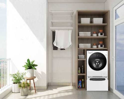 Hiện nay, đặt máy giặt ở ban công là lựa chọn của nhiều gia đình ở chung cư.