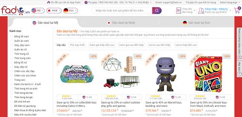 Fado.vn liên tục cập nhật mức ưu đãi trực tiếp trong chương trình của Amazon Mỹ, Đức, Nhật Bản.