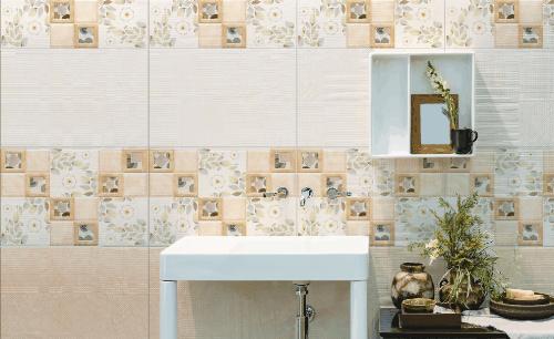 Thêm nét thanh nhã vào phòng tắm với bộ gạch hoa cỏ mùa xuân kết hợp với cách sắp đặt hình học của họa tiết.