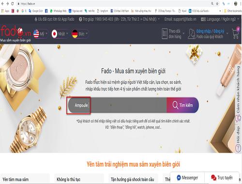 Chỉ cần một thao tác search tìm kiếm trên Fado, hàng nghìnsản phẩm sẽhiển thị tự động giá trọn gói về Việt Nam,giúp người mua chọn đượcsản phẩm phù hợp nhất.