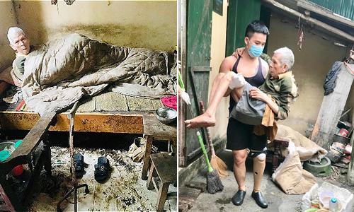 Tình cảnh cụ ông sống trước khi được Lưu và bạn bè của cậu giúp đỡ. Ảnh: Lưu Nguyễn.