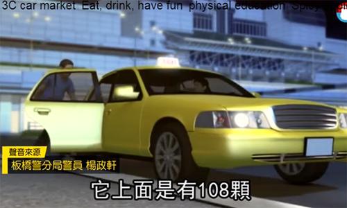 Mô hình do cảnh sát Đài Loandựng lại về vụ việc bỏ quên đồ trên taxi. Ảnh: Appledaily.