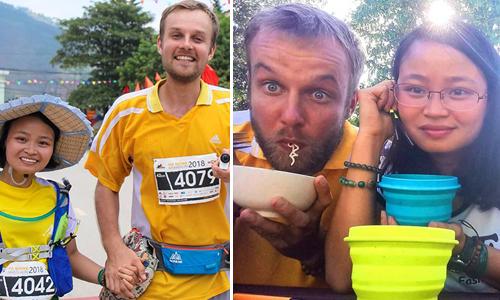 Sâm và Meigo có nhiều điểm chung như thích đi du lịch, ăn chay, chạy bộ. Họ đã đi bộ cùng nhau 780 km trong gần 2 năm yêu. Ảnh: NVCC.