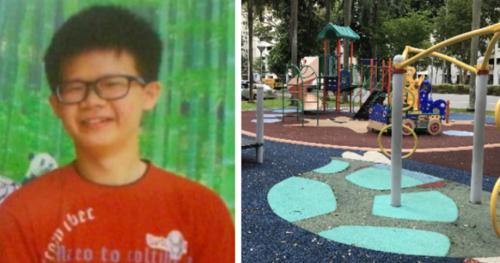 Zhang được tìm thấy ở sân chơi một toà chung cư. Ảnh:Sinchew News.