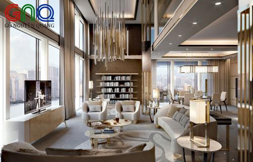 Phong cách thiết kế nội thất sang trọng mang đến vể đẹp lộng lẫy trong không gian sồng.