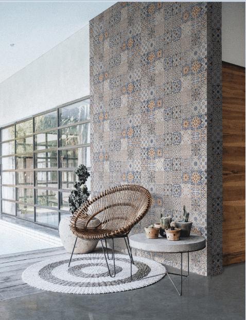 Một kiểu phối gạch từ nhiều mẫu tạo nên một bức tranh tổng quan hài hòa, có thể coi đây là một điểm nhấn thẩm mỹ ấn tượng cho tiền sảnh căn hộ.
