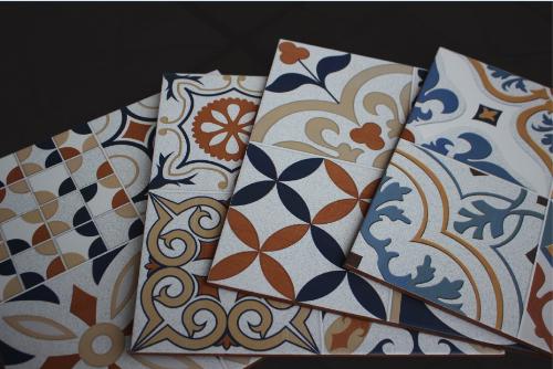 Họa tiết trên từng phần viên gạch thiết kế đối xứng cùng việc phối các màu sắc một cách sống động, bắt mắt như:màu xanh lam, vàng, cam, nâu đất... Gia chủ cóthể dùng gạch để ốp hay lát để làm đẹpcác không gian sống của gia đình.