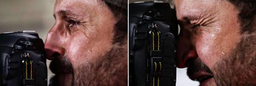 Hình ảnh phóng viên Iraq khóc được chia sẻ hàng chục nghìn lần trên mạng xã hội Trung Quốc. Ảnh: Sina.