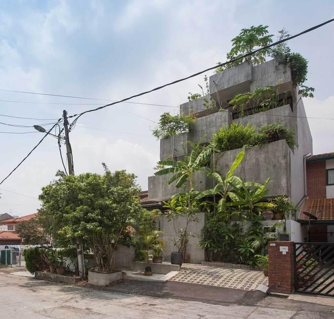 """Ngôi nhà như rừng nhiệt đới với hơn 40 loại cây """"data-component-caption ="""" & lt; p & gt; Nhà xây 3 tầng, tổng diện tùch 340 m2, hoàn thành năm 2017, là sự kết hợp giữa nhà ở và vườn với phong cách nhiệt đới đương đại. & Lt; / p & gt;"""