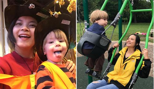 Nhiệm vụ của cô gái trẻ hàng ngày chơi với cậu bé hai tuổi. Ảnh: NVCC.