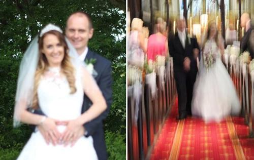 Cô dâu Chantelle vô cùng bực bội khi nhận được những bức hình cưới nhòe, rung. Ảnh: The Mirror.