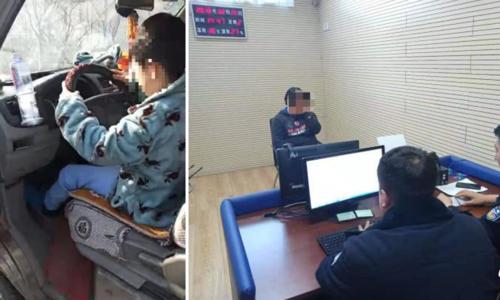 Đứa bé đang điều khiển xe trên đường thời điểm bị cảnh sát phát hiện và người mẹ sau đó phải chịu hình phạt. Ảnh: Chinanews.