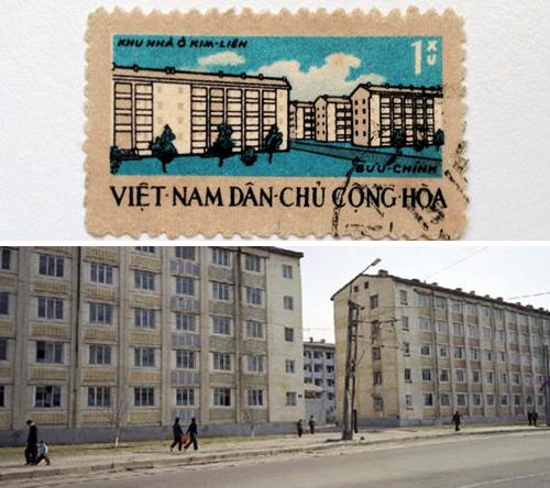Con tem lưu giữ hình ảnh nguyên bản KTT Kim Liên (trên) và nhà tập thể ở Triều Tiên (dưới). Ảnh: Nguyễn Thế Sơn cung cấp.
