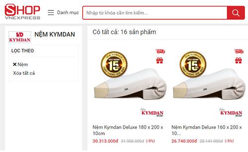 Các sản phẩm nệm Kymdan cũng được giảm giá trên Shop VnExpress.