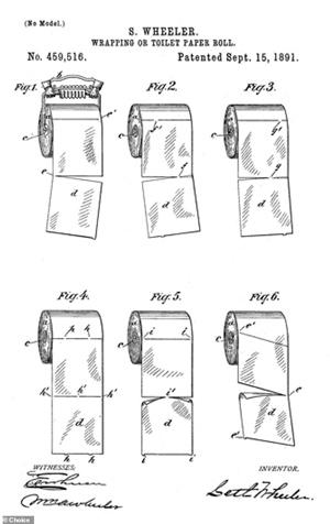 Bản vẽ sáng chế giấy vệ sinh của S. Wheeler.