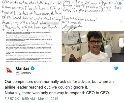 Trong thư gửi cậu bé, Joyce cho biết Đối thủ của chúng tôi thường không hỏi chúng tôi lời khuyên, nhưng nếu là thư của lãnh đạo mộthãng hàng không khác, chúng tôi không thể bỏ qua. Nói chung, chỉ có một cách để đáp lại: CEO tới CEO.