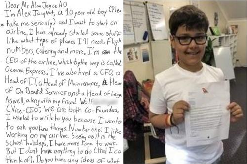 Cậu bé  Alex gửi thư cho CEO hãng hàng không quốc gia Australia bày tỏ ông giúp mình bí kíp thành lập một hãng bay.