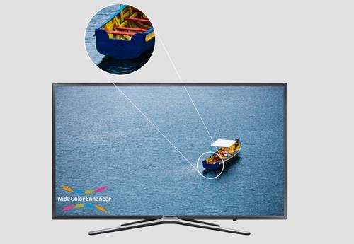 [Caption] Smart Tivi Samsung 40 inch UA40K5500 với kiểu dáng sắc sảo và sang trọng, sẽ là điểm nhấn đắt giá trong không gian gia đình hiện đại.Sắc nét trong từng khung hình với độ phân giải Full HD