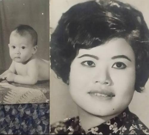 Chị Hằng ngày nhỏ và người mẹ nuôi tên Xuân.