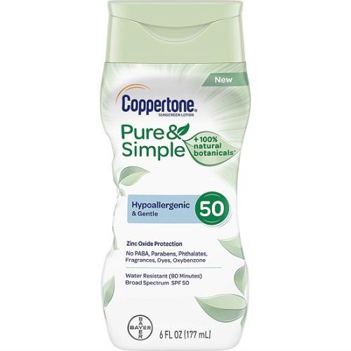 Coppertone Pure & Simple Sunscreen Lotion for Face SPF 50: Kem được làm bằng lá trà, tảo bẹ biển, chiết xuất hoa sen giúp làm dịu làn da dễ bị kích thích. Ngoài ra, hãng còn bổ sung thêm thành phần oxit kẽm đặc biệt mang đến cho bạn một làn da tươi tắn.Sản phẩm được đang được bán với giá ưu đãi cùng nhiều phân loại từ các nước khác nhau cho bạn dễ dàng lựa chọn trên Fado.