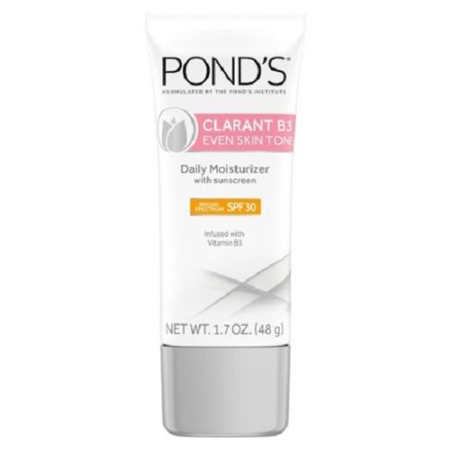 Ponds Clarant B3 Even Skin Tone Daily Facial Moisturizer With SPF 30 Sunscreen: Sản phẩm không chỉ làm sáng da theo thời gian mà còn có giá khá rẻ, khoảng 10 USD.