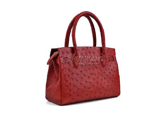 Túi xách da đà điểu Huy Hoàng màu nâu đỏ HV6402
