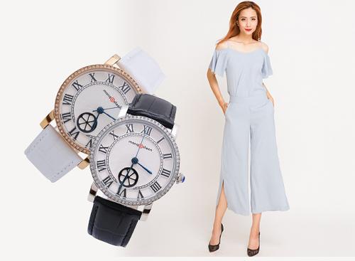 Set đồ gồm quần lửng ống rộng xẻ culottes PAN017 (xanh morningsky) có thể phối cùng đồng hồ nữ Mangosteen Seoul dây da đen hoặc trắng.