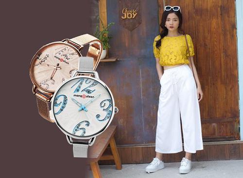 Để phối đồng hồ bản to cùng quần ống rộng, bạn gái có thể chọn mẫu đồng hồ nữ Mangosteen Seoul Hàn Quốc dây kim loại (2 màu)  khi diện quần culottes trắng và áo crop top vàng.