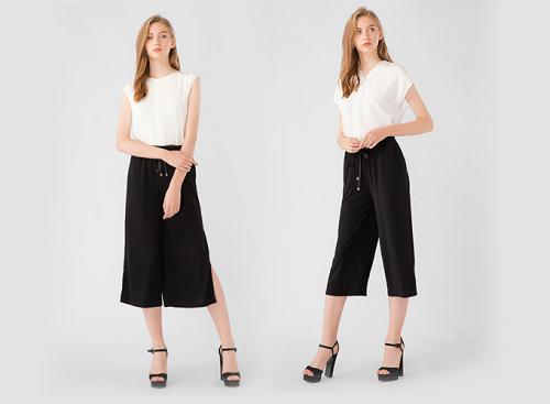 Quần culottes lửng nơ kiểu Kassun dành cho các cô nàng yêu thích phong cách năng động và trẻ trung, màu đen dễ phối cùng nhiều trang phục. Giá 189.000 đồng.