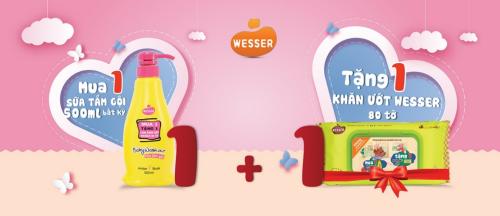 Tháng 5, khi mua một sữa tắm Wesser 2in1 bất kỳ (một trong 3 loại hương thơm) tại Lazada, Adayroi, Tiki, Shopee, Lotte.... mẹ và bé sẽ được tặng 1 gói khăn ướt.
