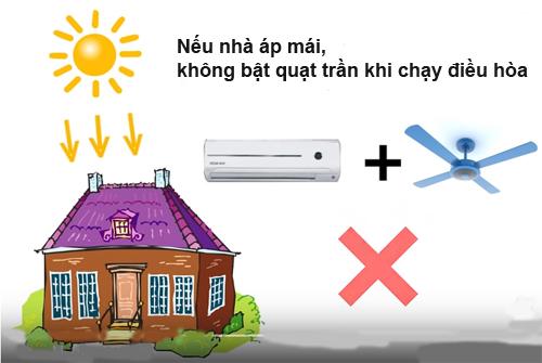 Bật quạt trần khi chạy điều hòa ở các phòng hoặc căn hộ áp mái sẽ làm tốn điện. Ảnh: Australia.